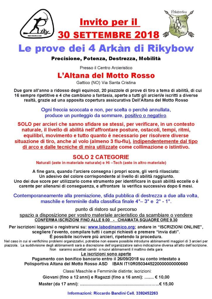 Volantino Le prove dei 4 Arkàn di Rikybow 30 Settembre 2018_1